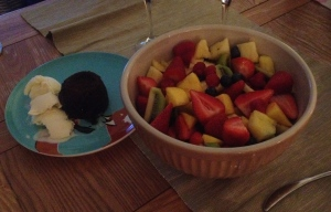 Fruit Salad & Chocolate Fondant