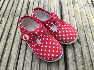 Jo Jo Maman Bebe Canvas Summer Shoes Red and White Polka Dot